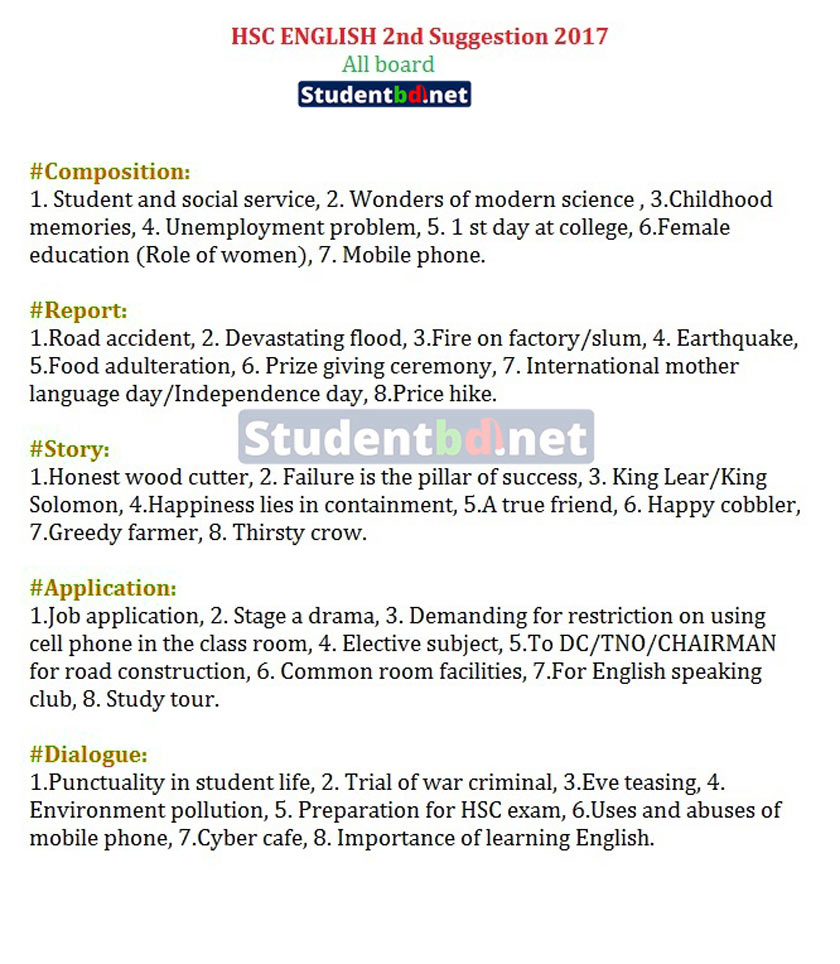 hsc-english-2nd-paper-short-suggestion-2017