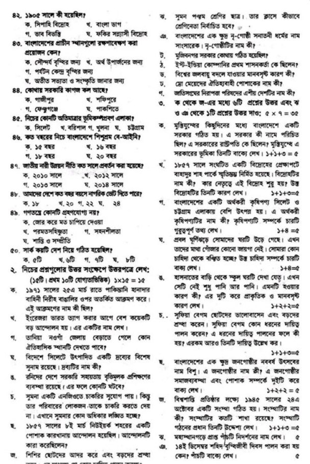PSC Bangladesh and Bisho Porichoy Final Suggestion 2017