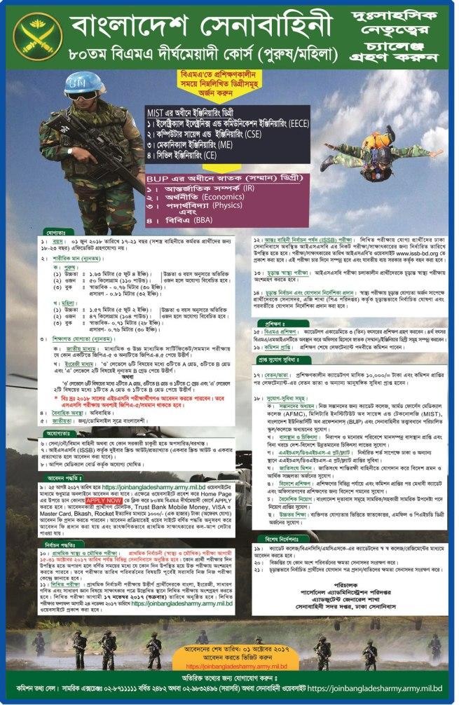 Army 80 BMA Long Course Circular 2017